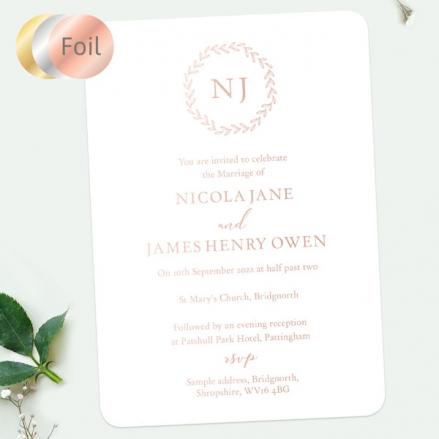 Monogram-Leaves-Foil-Wedding-Invitation