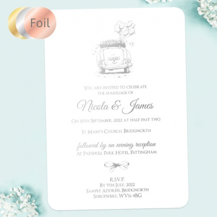 Vintage-Wedding-Car-Foil-Boutique-Wedding-Invitation