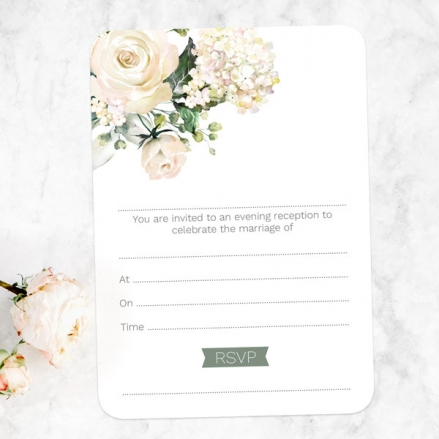 White Country Flowers - Ready to Write Evening Invitations
