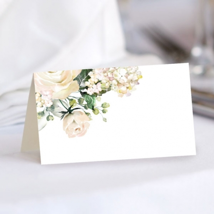 White Country Flowers - Ready to Write Wedding Place Cards
