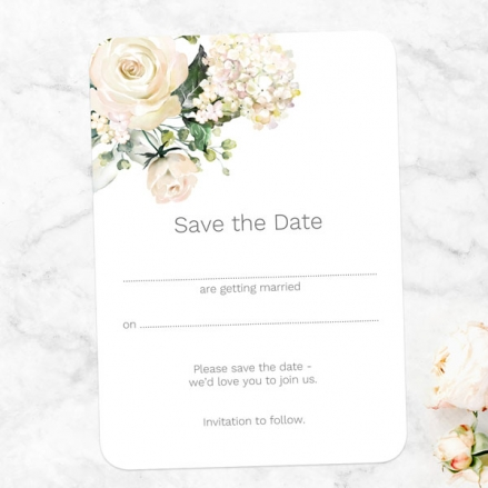 White Country Flowers - Ready to Write Save the Date Cards