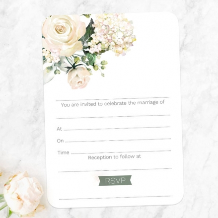 White Country Flowers - Ready to Write Wedding Invitations