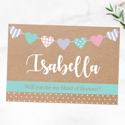Will You Be My Maid of Honour? - Heart Bunting