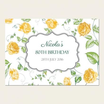 80th Birthday Invitations - Yellow Roses Garden Party