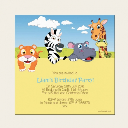 Personalised Kids Birthday Invitations - Zoo Animals - Pack of 10