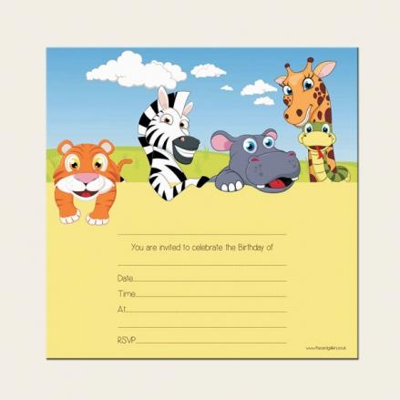 Ready to Write Kids Birthday Invitations - Zoo Animals - Pack of 10