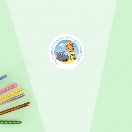 Zoo Animals - Sweet Cone Bag & Sticker - Pack of 35
