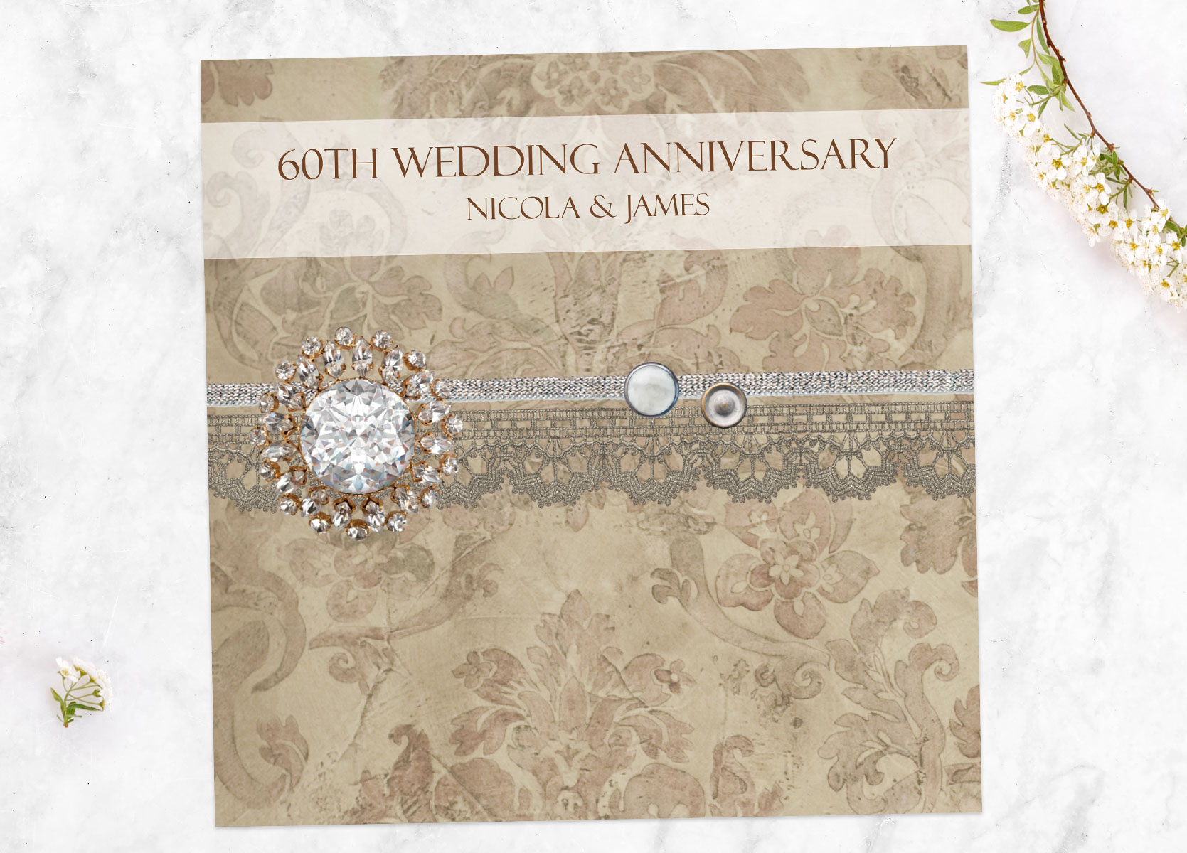 60th Diamond Wedding Anniversary Invitations