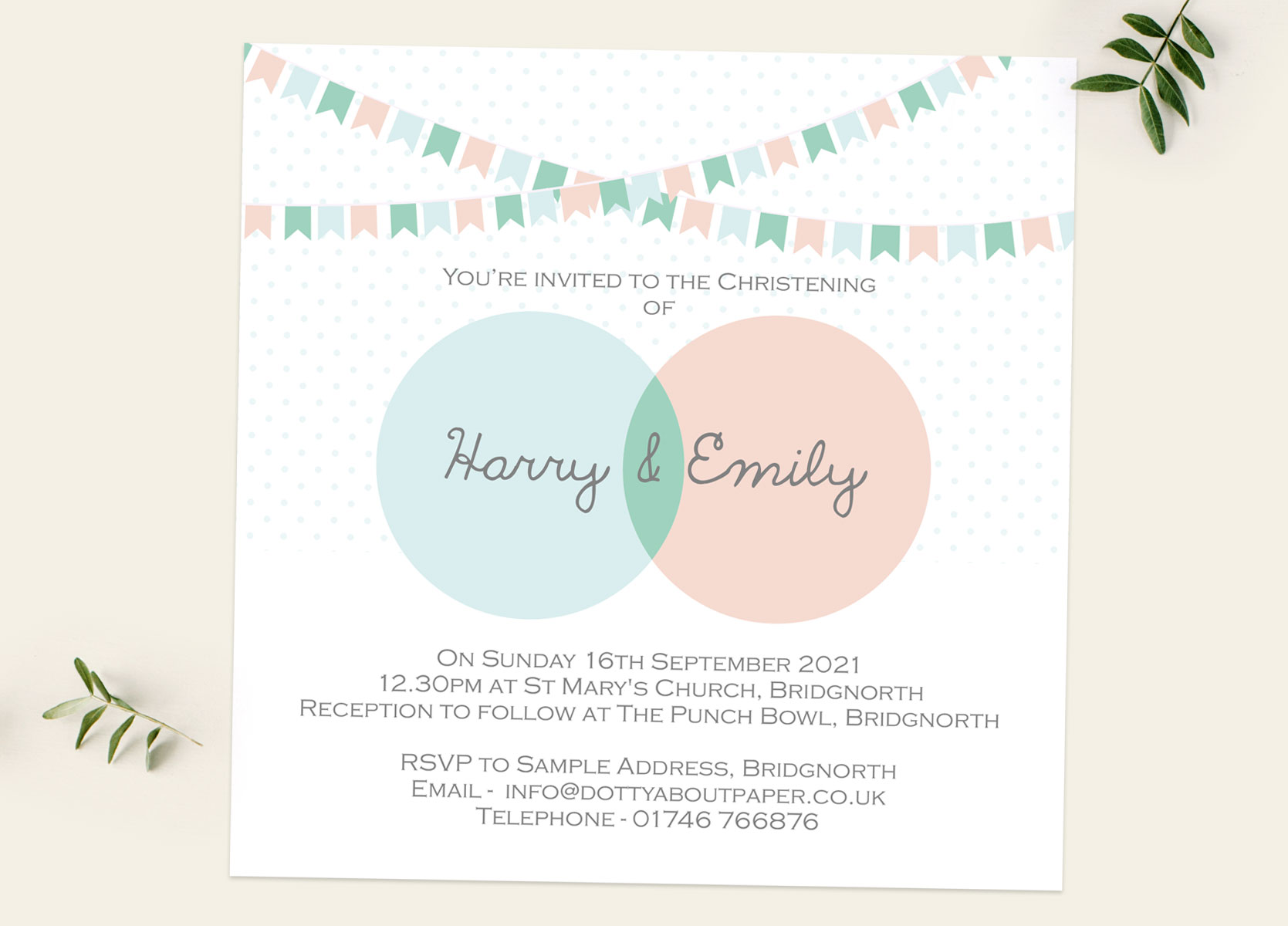 Twins & Triplets Christening Invitations