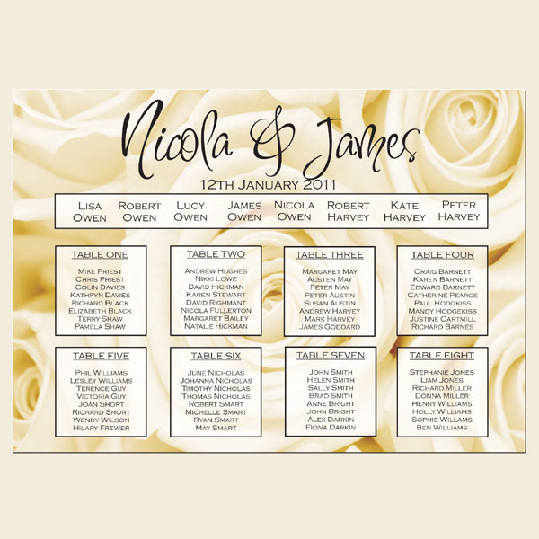 Our Great Range of Wedding Table Plans