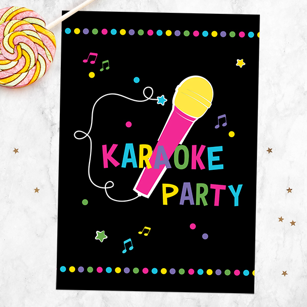 Music Party Themes - Fun Karaoke Party Birthday Invitations