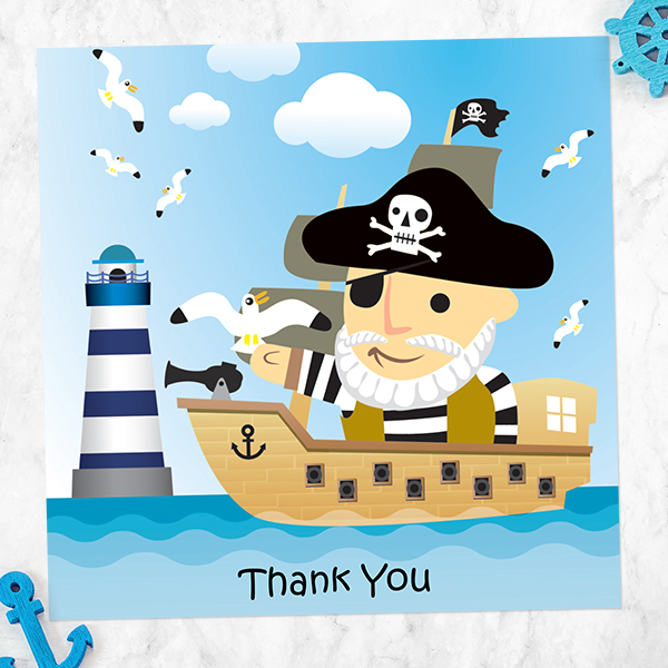 Plan a Pirate Party! - Ready to Write Kids Thank You Cards - Pirate Boat