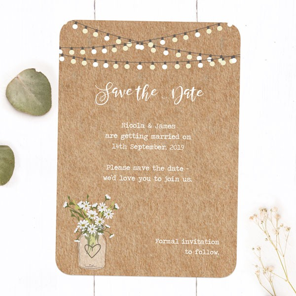 Everything you need to know about Save the Date Wedding Cards - Rustic Mason Jar Flowers