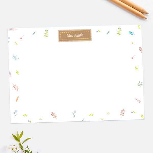 Kraft Scattered Flowers - Personalised A6 Note Card - Pack of 10