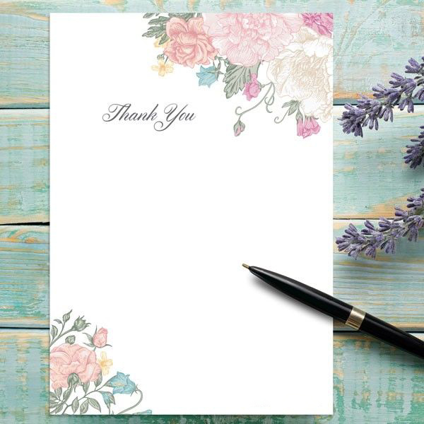 Long Lost Tradition of Writing Cards - Vintage Flowers - Thank You Notelet - Pack of 20