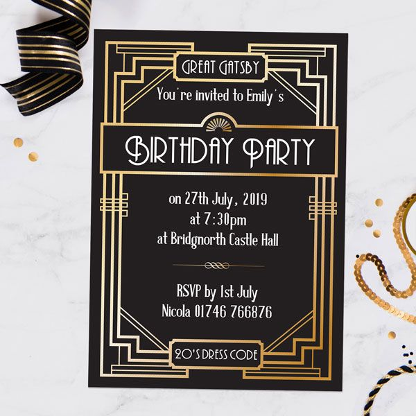 When should you send out invitations for a birthday party? - Great Gatsby - Invitations