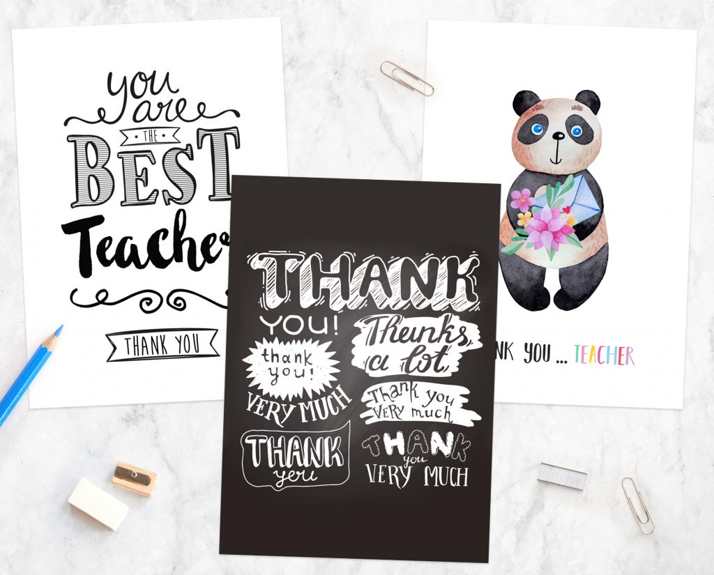 How to Write a Thank You Note to a Teacher - Chalkboard Teacher Thank You Cards