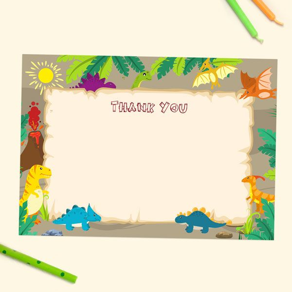 How to Write a Birthday Thank You Note - Ready to Write Kids Thank You Cards - Dinosaur World