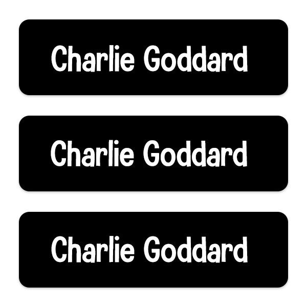 Should You Put Your Child's Name on Their Backpack? - Medium Personalised Stick On Waterproof (Equipment) Name Labels - Black - Pack of 42