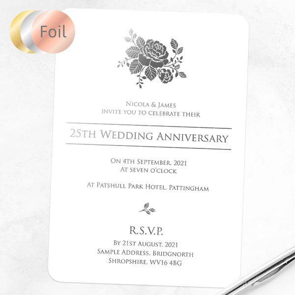 What to Write in an Anniversary Invitation? - 25th Foil Wedding Anniversary Invitations - Elegant Rose