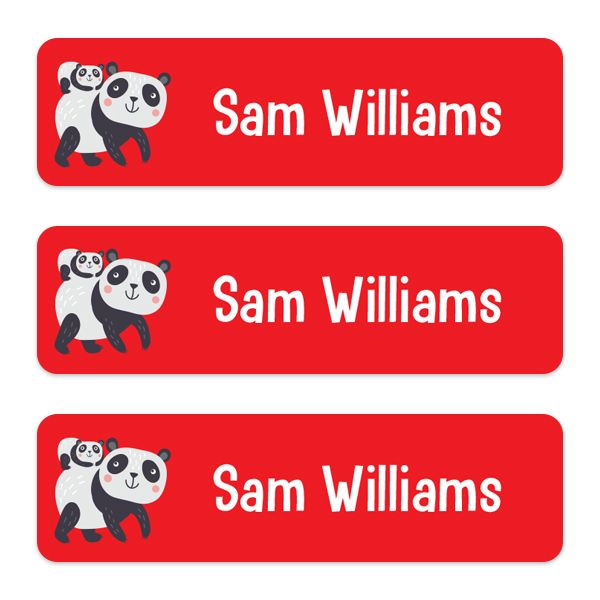 Should You Put Your Child's Name on Their Backpack? - Medium Personalised Stick On Waterproof (Equipment) Name Labels - Panda - Pack of 42