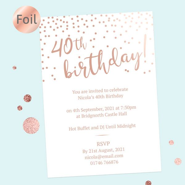 Should You Send Electronic or Paper Birthday Invitations? - Foil 40th Birthday Invitations - Sparkly Typography