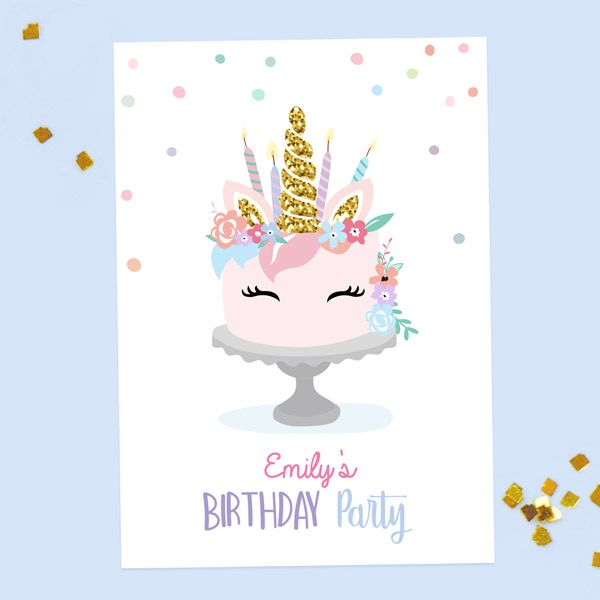 Should You Send Electronic or Paper Birthday Invitations? - Kids Birthday Invitations - Unicorn Cake