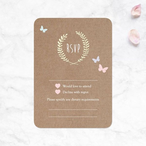 How Do You Decline a Wedding Invitation after Accepting It? - Rustic Pastel Butterflies - Wedding RSVP Cards