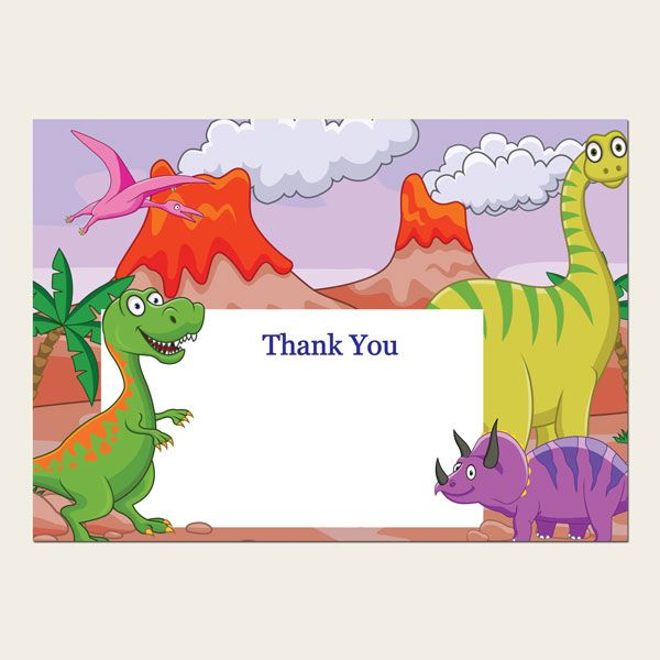 How to Throw a Dinosaur Party for Kids - Ready to Write Kids Thank You Cards - Cartoon Dinosaurs