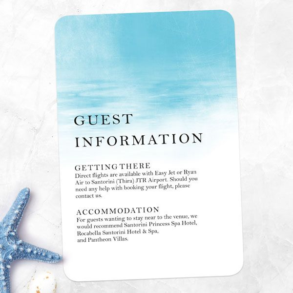 How Do You Write a Wedding Invitation? - Blue Watercolour Wash - Guest Information