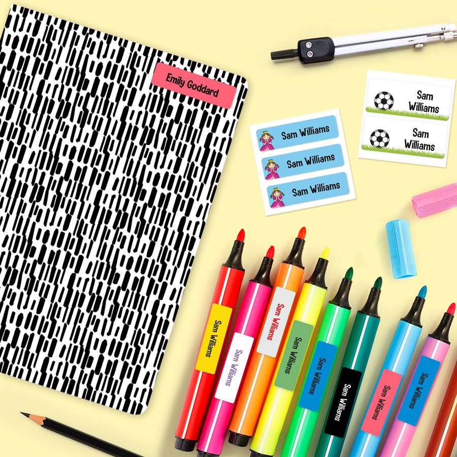 School Name Labels Pens Stationery