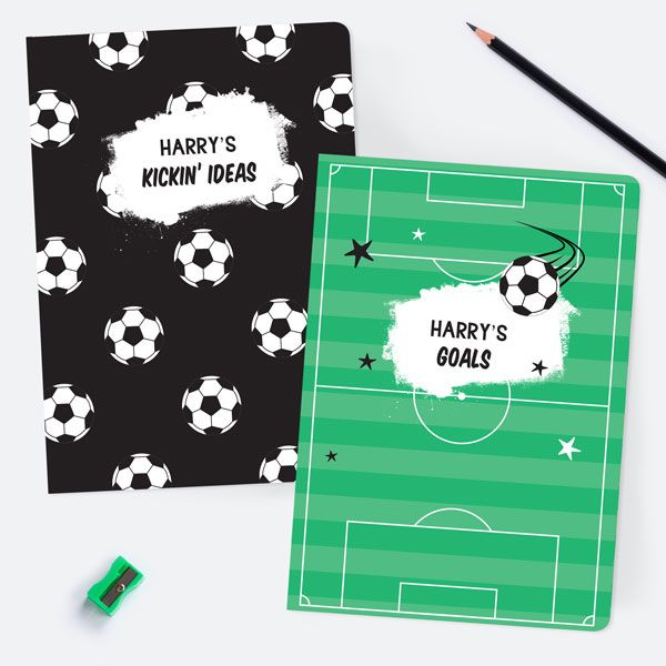 The Complete Back-to-School Shopping Lists for School - Football Crazy - Personalised A5 Exercise Books - Pack of 2