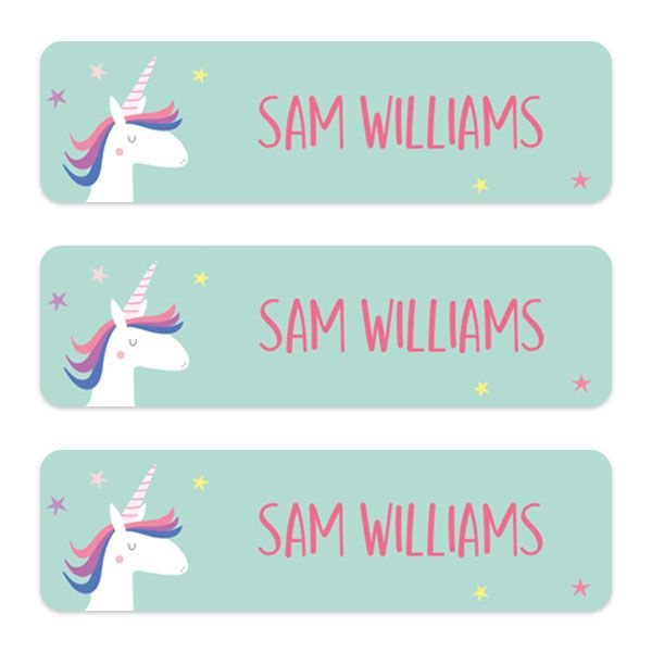 The Complete Back-to-School Shopping Lists for School - Medium Personalised Stick On Waterproof (Equipment) Name Labels - Unicorn Magic - Pack of 42