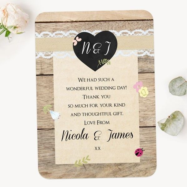 What to Write in a Thank You Card - Rustic Chalkboard Flowers - Wedding Thank You Cards