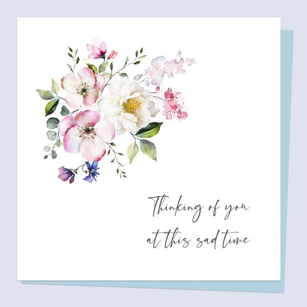 What to Write in a Sympathy Card - Sympathy Card - Botanical Watercolour Flowers Thinking of You