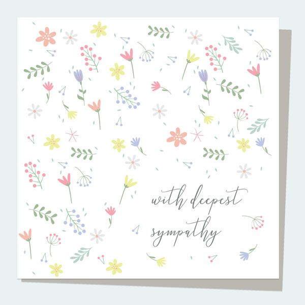 What to Write in a Sympathy Card - Sympathy Card - Scattered Flowers With Deepest Sympathy