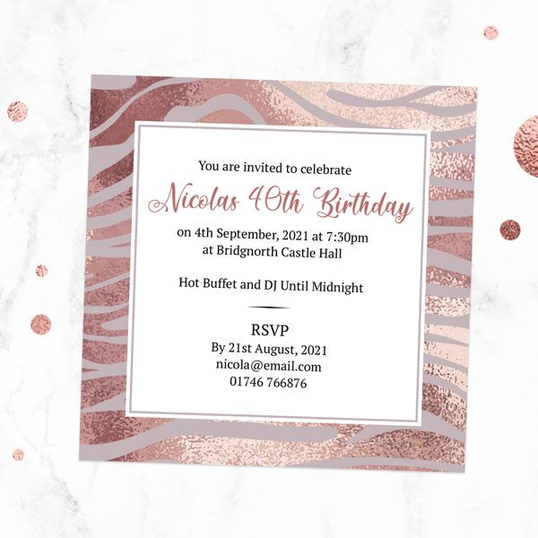 How to Have a Micro-Birthday Party? - 40th Birthday Invitations - Blush Tiger Print