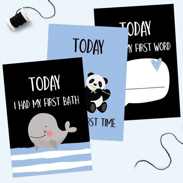 How to Use Baby Milestone Cards - Baby Milestone Cards Phrases - Pack of 12 - Boys Monochrome