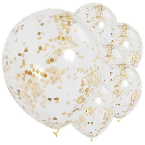 """How to Have a Micro-Birthday Party? - Gold Confetti Balloons - 12"""" Latex - Pack of 6"""