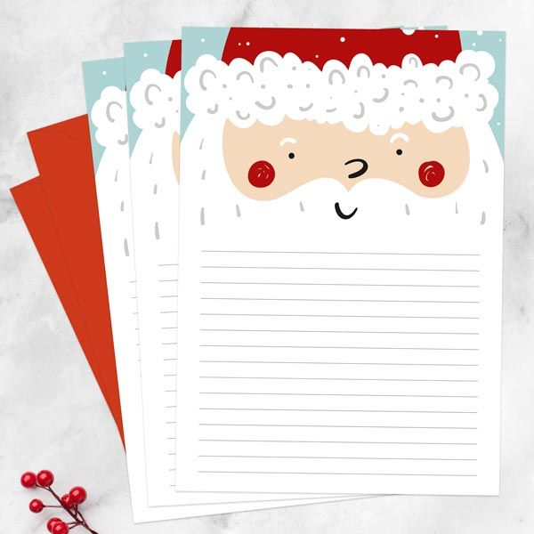 Christmas Letter Writing Sets for Adults and Kids - Father Christmas - Letter Set - Pack of 20