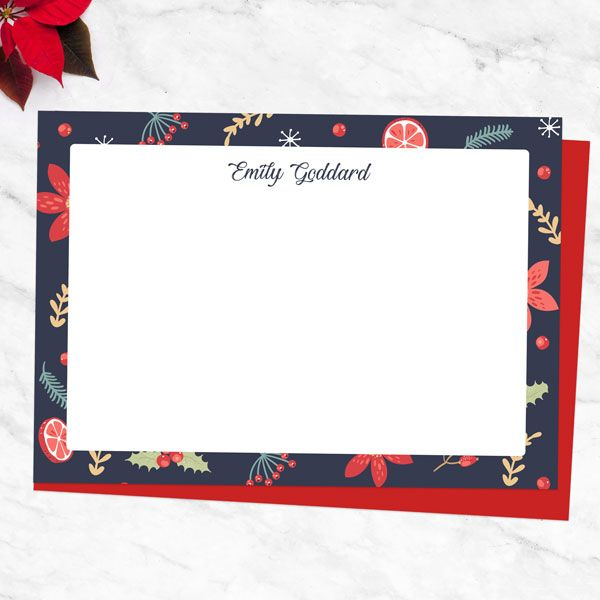 Christmas Letter Writing Sets for Adults and Kids - Navy Festive Foliage - Personalised A6 Note Card